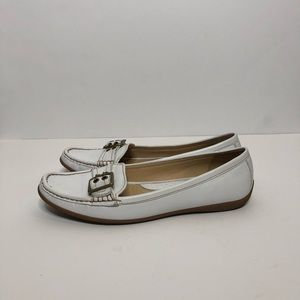 COACH Sammie White Leather Loafers